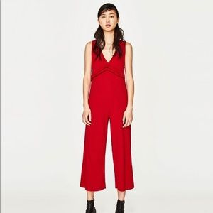 Zara Trafaluc red ribbed jumpsuit size Small